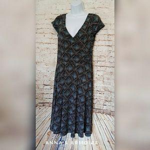Dress Barn Faux Wrap Dress Size 6